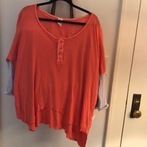 Free People new nwt Coral Henley oversized S